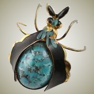 Vintage Enamel & Stone German Bug Pin Brooch