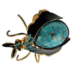 Marked Enamel Bug Brooch With Stone