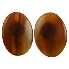 Oval Cinnamon Colored Agate Earrings