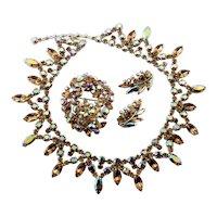Signed Sherman Necklace, Brooch & Earrings