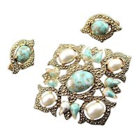 Signed Sarah Coventry Faux Turquoise Set