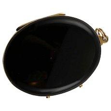 Antique Black Onyx & Gold Large Locket