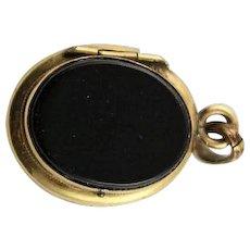 Antique Black Onyx & 18K Gold Locket