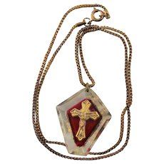 Vintage Red Lucite & Gold Crucifix Necklace