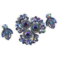 Spectacular Weiss Montana Blue AB Brooch & Earrings Set