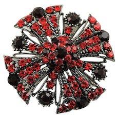 Vintage Red Maltese Cross Brooch/Pendant