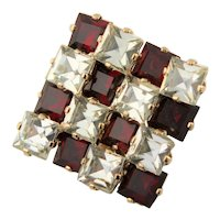 Stunning Checker Board Red & Clear Crystal Brooch