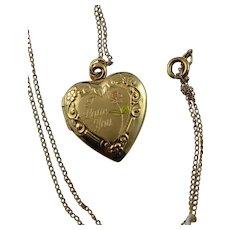 Vintage 14k Gold Filled Heart Shaped Locket