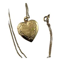 "14KGF Etched ""I Love You"" Golden Locket With Chain"
