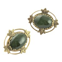 Gold Plated & Jade Clip Earrings