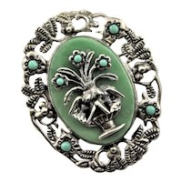 Iconic Sterling Chrysoprase Marked Brooch