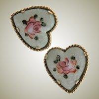 Vintage Guilloche Heart Shaped Coro Earrings