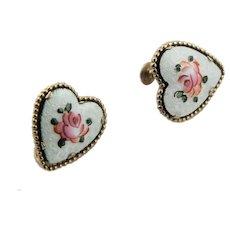 Signed Coro Guilloche Enamel Heart Earrings