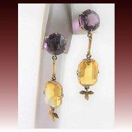 Victorian 18K Gold Amethyst & Citrine Earrings