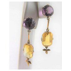 Victorian 18K Gold Amethyst & Citrine Earrings