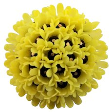 Yellow Plastic Flower Brooch Marked West Germany