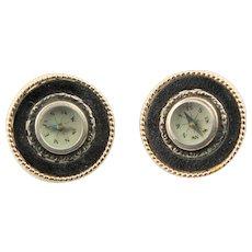Vintage Compass Black Enamel Earrings