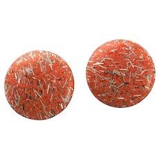 60's Orange Confetti Clip Earrings