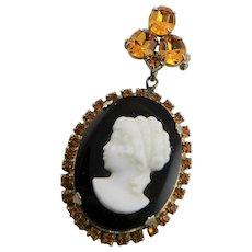 Vintage Cameo With Gold Rhinestones Brooch