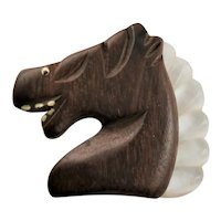 Smiling Ebony Wood Horse Brooch With Lucite