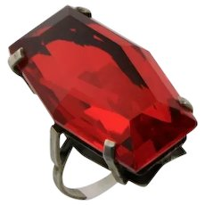 Art Deco Big Red Glass & Sterling Ring