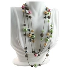 Antique Multi Colored & Multi Stone Extra Long Necklace