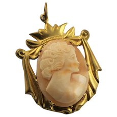 Hand Carved Shell Cameo 9K Gold Plated Pendent
