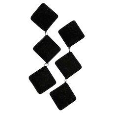Large Black Velvet Chandelier Earrings