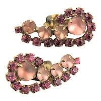 Frosted Pink Glass Stones Earrings
