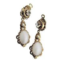 Glamorous W. German White Glass Earrings