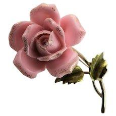Rare & Beautiful Coro Pink Glass Rose Brooch