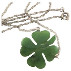 Carved Jade Four Leaf Clover With Silver Chain