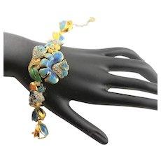 Amazing Vintage Enamel Blue Flower Bracelet