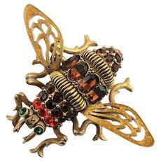 Joan Rivers Large Multi Colored Bee Brooch