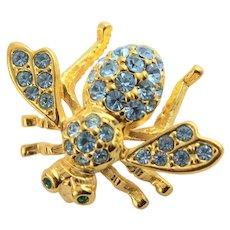 Joan Rivers Light Blue Rhinestone Bee Brooch