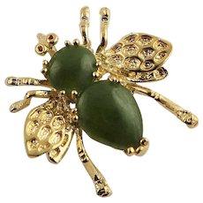 Darling Joan Rivers Tiny Jade Bee Brooch