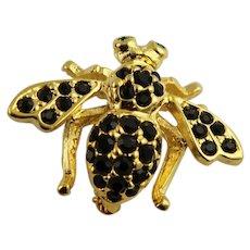 Joan Rivers Black Rhinestone Bee Brooch