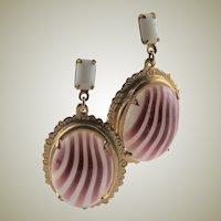Spectacular Art Nouveau Art Glass & Gold Earrings