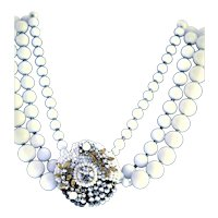Unmarked Miriam Haskell Milk Glass Necklace