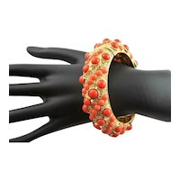 KJL Coral & Crystal Encrusted Bangle Bracelet