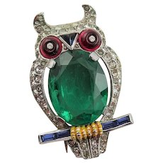 Fantastic Crown Trifari Owl Brooch W/Green Stone Belly