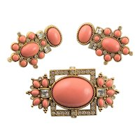 Famous Coral Resin Set By Liz Taylor for Avon