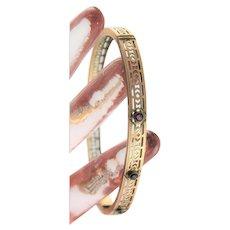 Antique 10K Gold & Ruby Bangle Bracelet