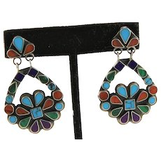 Signed Native American Multi Gem Earrings