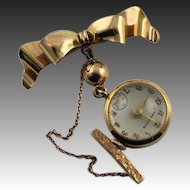 Extraordinary Antique 12KGF Clock Brooch