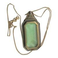 Antique Art Deco Green Glass Necklace