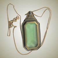 Antique Art Deco Green Glass Necklace