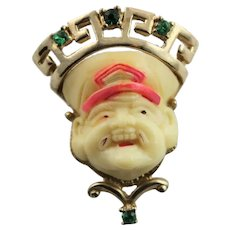 Asian Man Face Resin Brooch With Crown