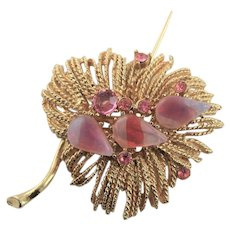 Lovely Gold & Pink Brooch