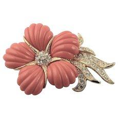 Vintage Nolan Miller Coral Lucite Flower Brooch